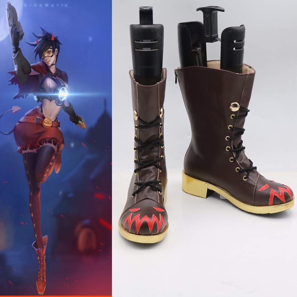 Custom Made Adult Game OW Tracer Cosplay Shoes Boots Accessories Halloween Winter Party Cosplay Boots Props L0713