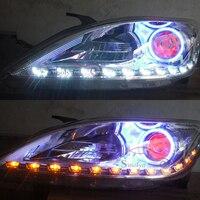 2x White Amber Flexible Switchback Headlight LED Stripe Angel Eye DRL Decorative Light With Turn Light