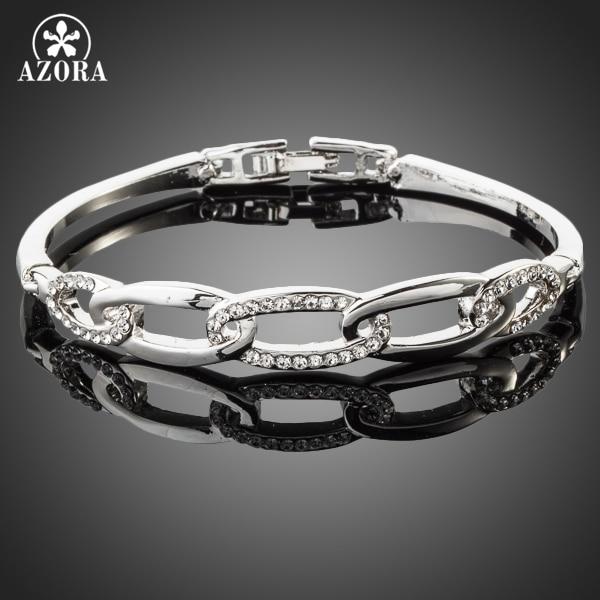 AZORA Classic White Gold Color Stellux Austrian Crystal Paved Bangle Bracelet TB0014