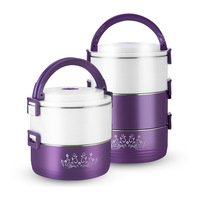 Purple Round Bento Box Bowls Western Style Thermal Insulation Stainless Steel Food Container Student Lunch Boxes