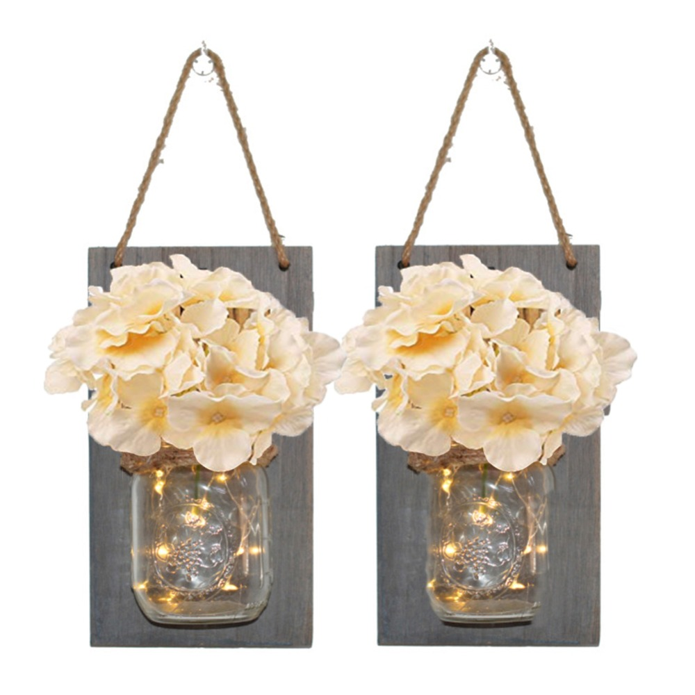 2 Rustic Mason Jar Wall Light LED Fairy Lights Flower Wall Sconces Remote Control Dimmable Wall Lamp Cafe Bar Bedroom Decoration