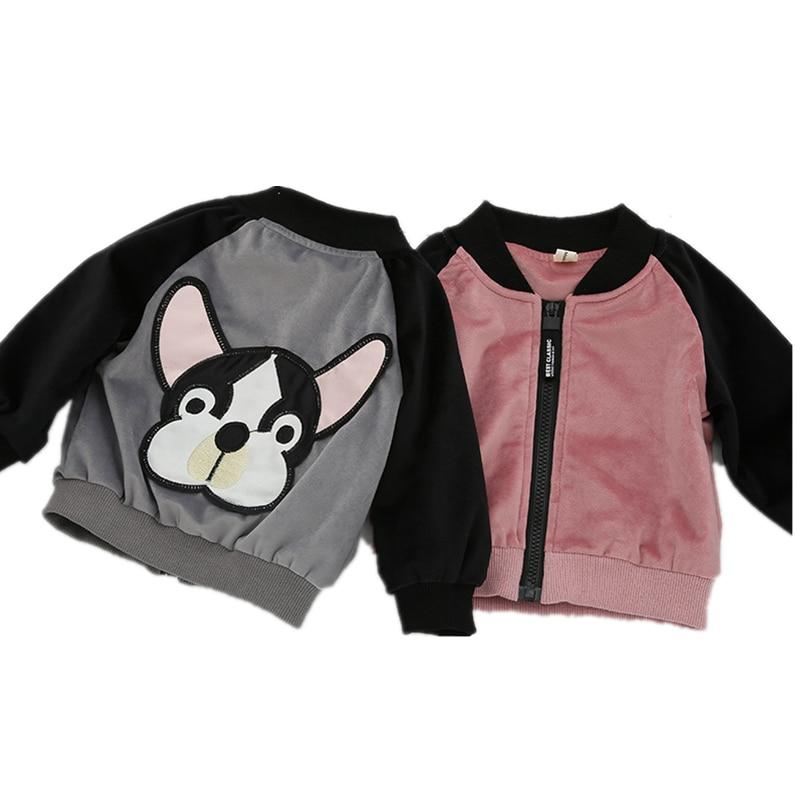 Для девочек зимняя одежда детская куртка на молнии верхней одежды милая собака с принтами Одежда для новорожденных Длинные рукава одежда д...