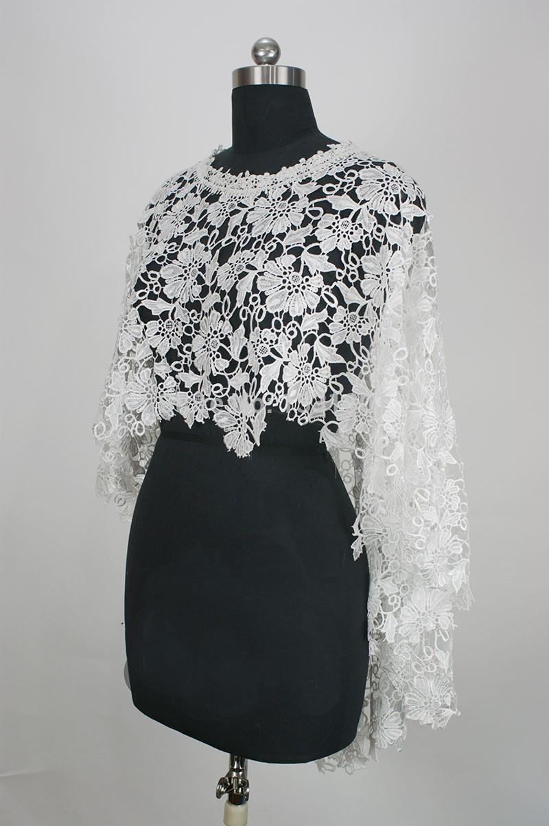 O Neck White Or Beige Lace Wedding Bolero De Renda Bridal Jackets 2015 One Piece Sleeveless Imported China (2)