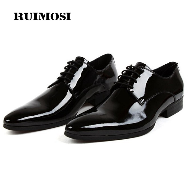 RUIMOSI Formal Brand Man Bridal Dress Shoes Patent Leather Designer Oxfords Top Quality Pointed Derby Wedding Men's Flats CA66