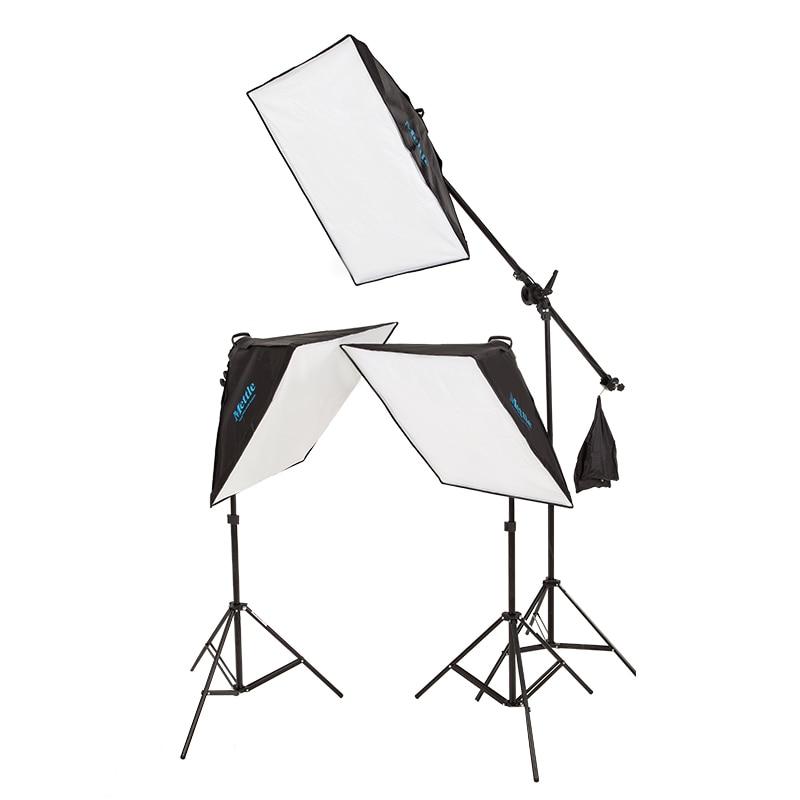 Flash studio 3 softbox professional camera studio softbox photo video light backdrop kit Photography Studio Photo Set kit CD50