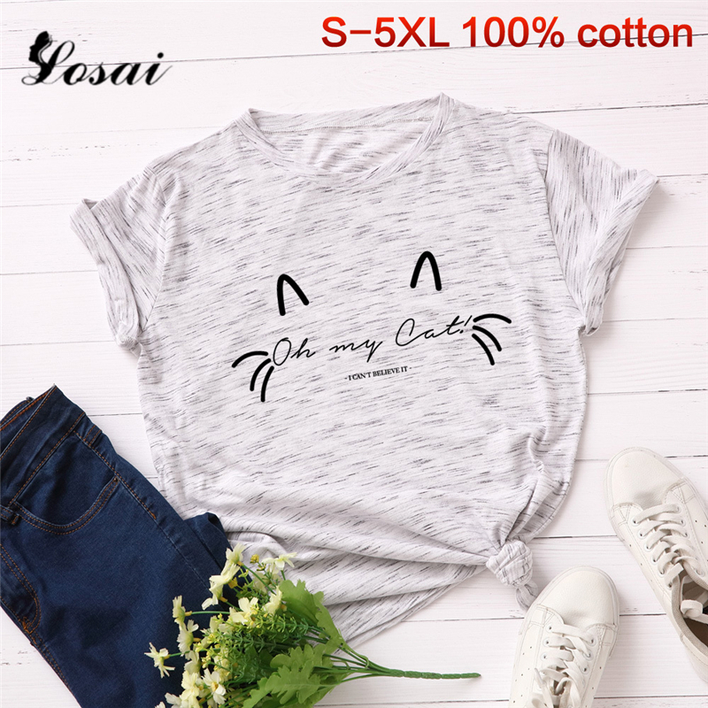 Plus Size 3XL 4XL 5XL Women T Shirts Summer T-shirt Cartoon Cat Print Short Sleeve Tops Korean Tshirt Harajuku Tees Black Shirts