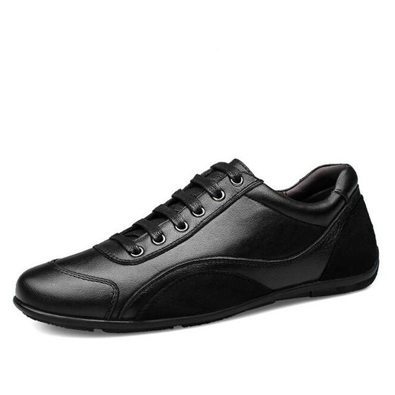 reputable site b80f2 9b36a US $41.92 27% di SCONTO|Nuovo Uomo In Pelle di Qualità Scarpe Nere Moda  Stile Del Cuoio Genuino Uomo Scarpe Comode Uomini di Marca Scarpe Casual  Più ...