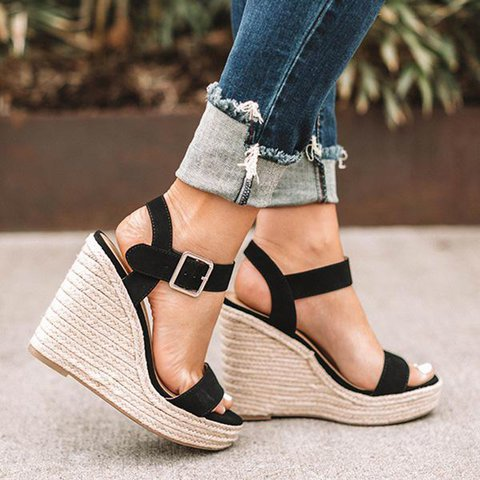 Ladies Shoes Wedge Platform Cross-Tied Summer Sandals High-Heels Woman Pumps Mujer Chaussure