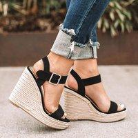 Zapatos mujer/Женская обувь, женские летние сандалии-гладиаторы на танкетке, туфли-лодочки с перекрестной шнуровкой на высоком каблуке и платформ...