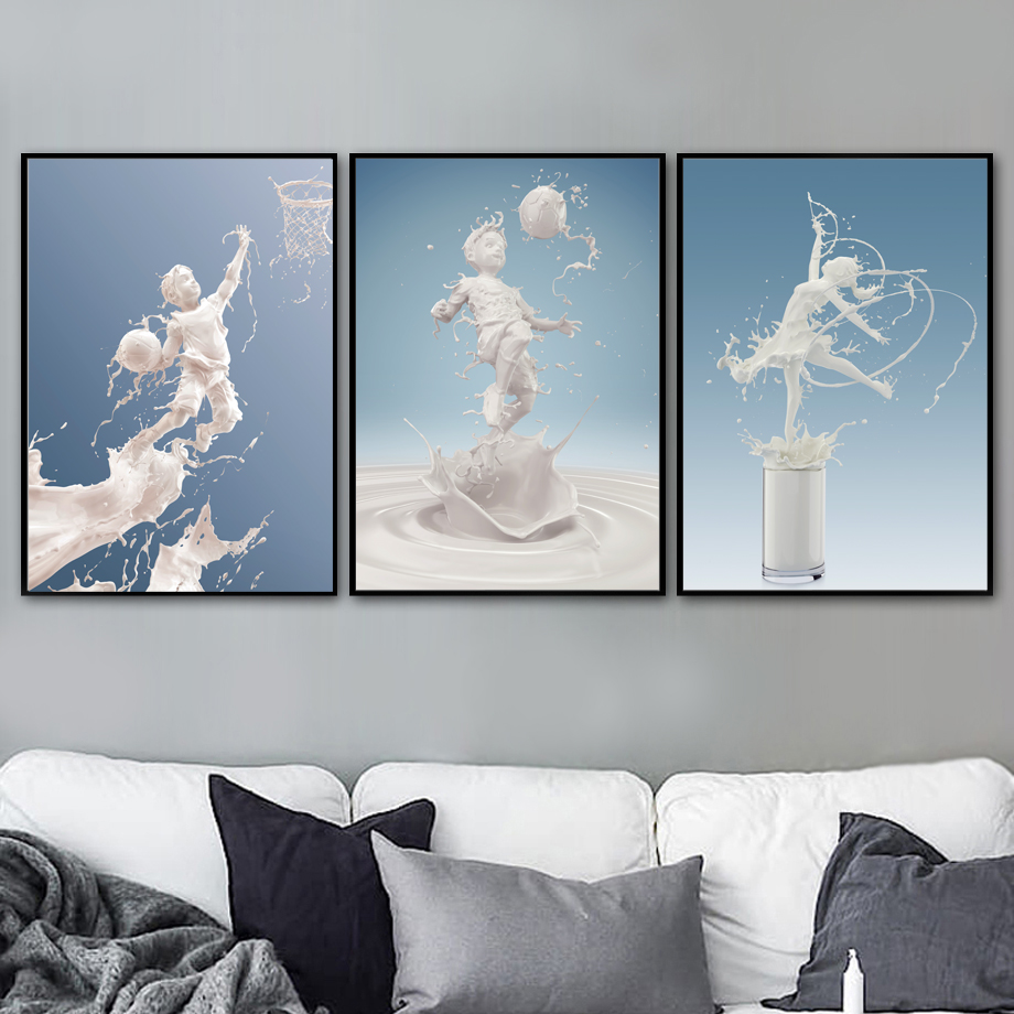 Milk Basketball Football Ballet Nordic Posters And Prints Wall Art Canvas Painting Pictures Baby Boy Girl Room Home Decor