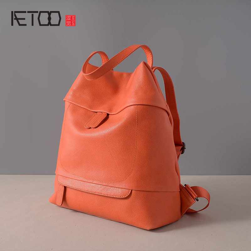 AETOO The new first layer of leather shoulder bag simple fashion shoulder bag dual-use travel bag leather backpack qiaobao 2018 new korean version of the first layer of women s leather packet messenger bag female shoulder diagonal cross bag