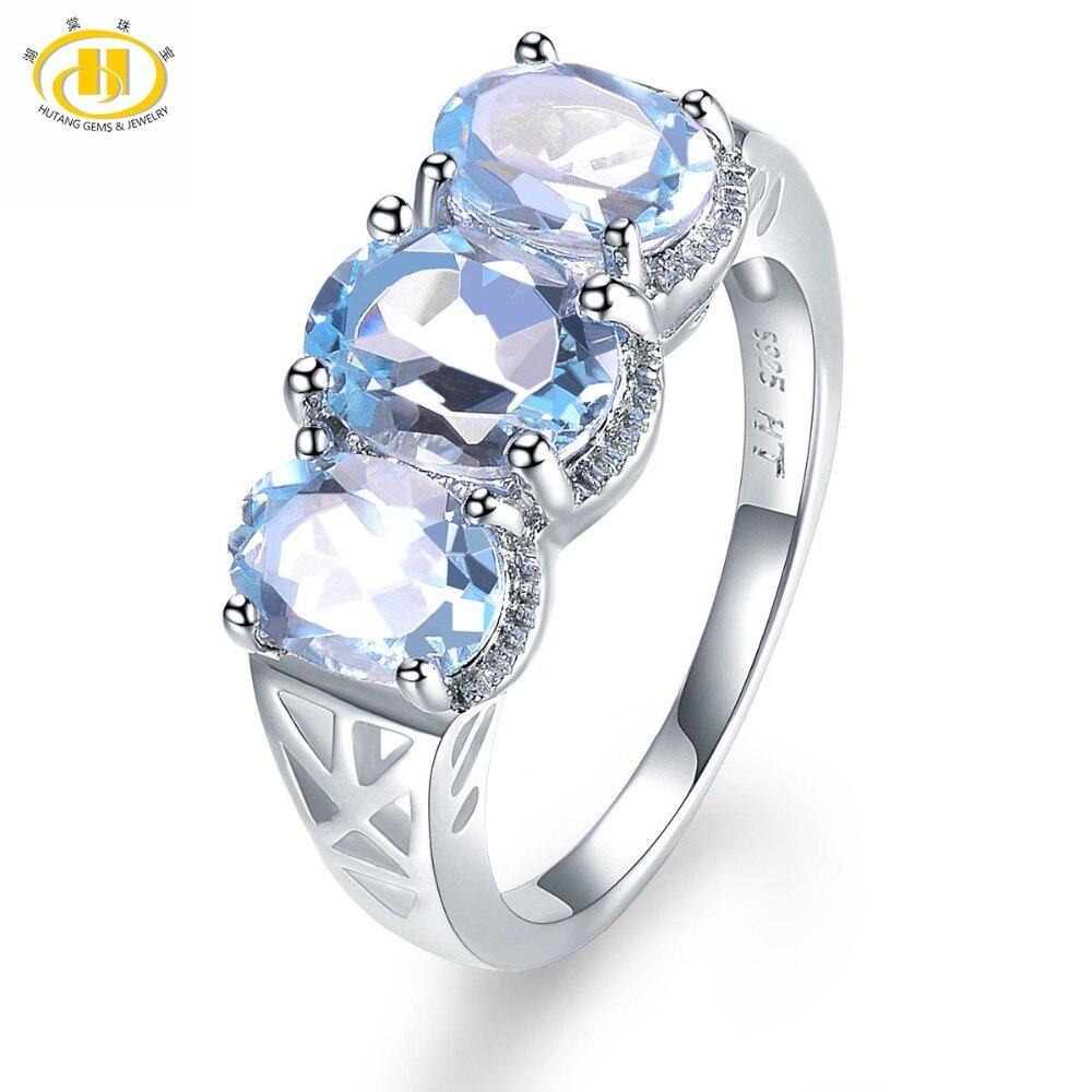 4dfea03d2d93 Hutang 925 CT anillos de piedras preciosas naturales cielo azul Topacio  sólido anillo de plata fina joyería para mujeres niñas regalos nuevo