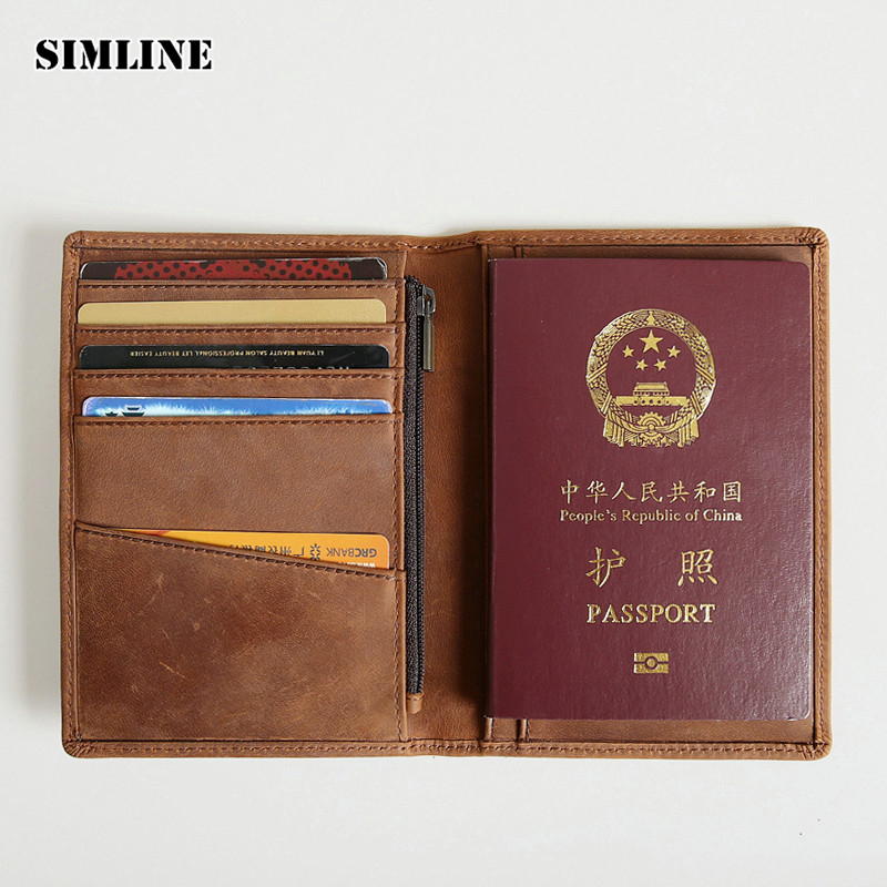 Brand Vintage Genuine Crazy Horse Leather Men Men's Passport Wallet Wallets Cover Purse Card Holder With Zipper Coin Pocket Male simline vintage genuine crazy horse leather cowhide men mens long wallet wallets purse card holder with zipper coin pocket man