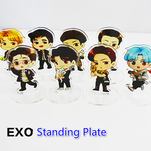 [MYKPOP]EXO Acrylic Standing Cartoon Plate KPOP Fans Collection SA18052601
