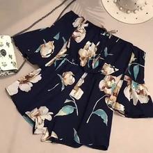NiceMix Women Summer Print Floral Strapless Wide Leg Shorts Jumpsuits Loose Flare Sleeve Playsuit Elastic Waist Short Pleated