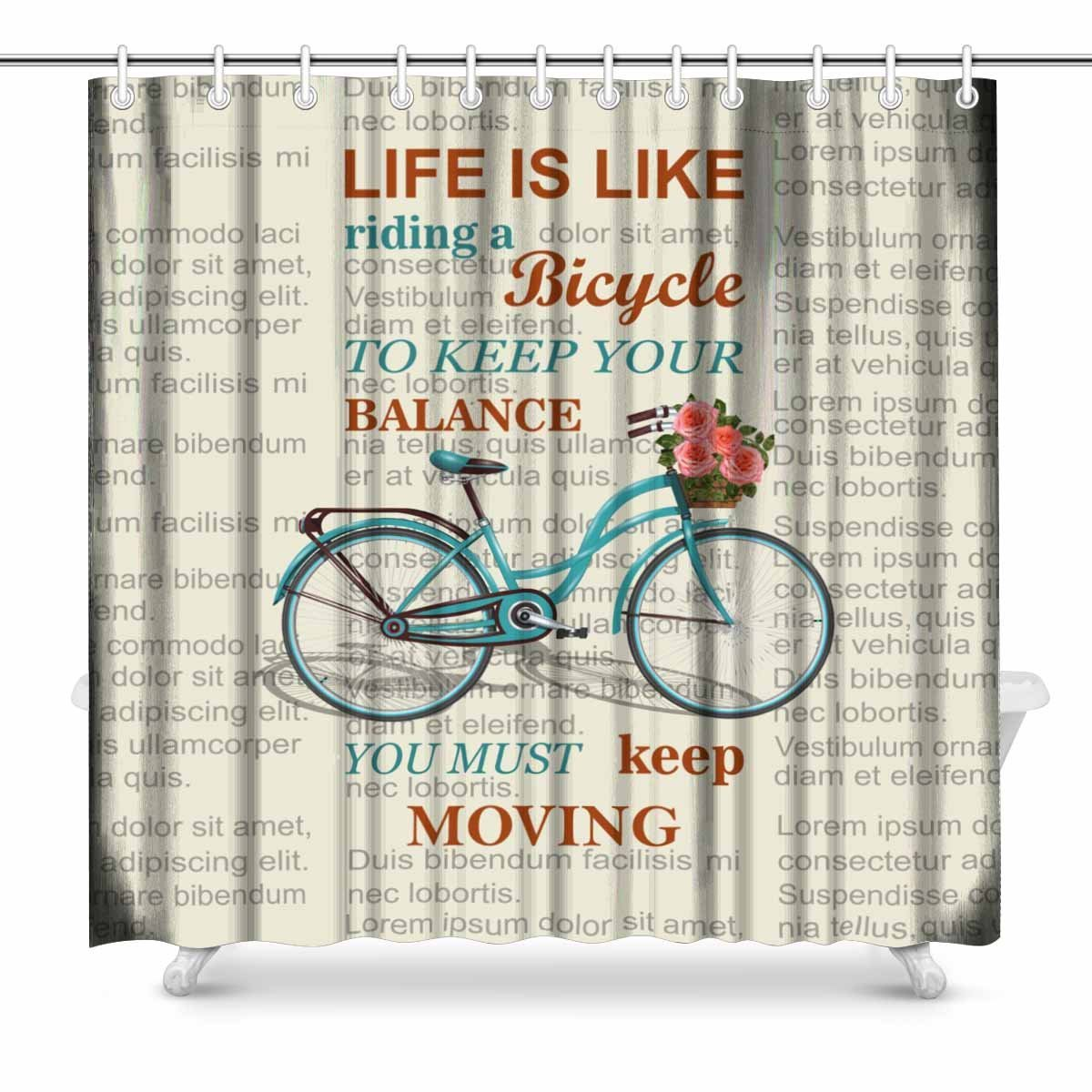 Aplysia Inspirational Quote On Newspaper Typographical With Retro Bicycle Bathroom Shower Curtain Accessories 72 Inches In Curtains From Home