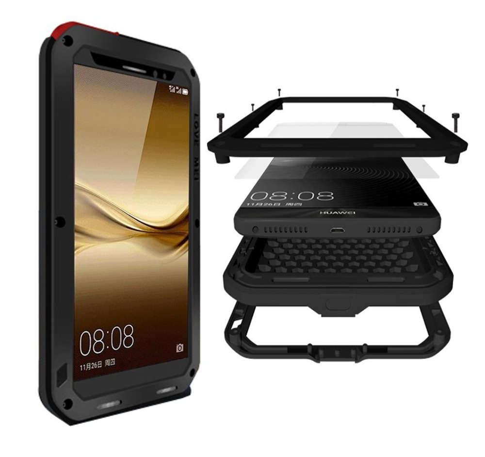 Mate 9 Case Shockproof Dust Dirt Snow Proof Aluminum Metal Gorilla Glass Protection Case Cover for