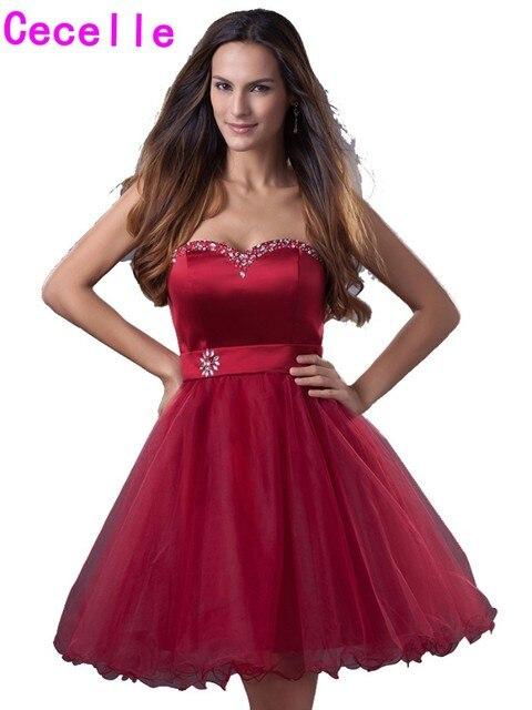 Dark Red Short Homecoming Dresses