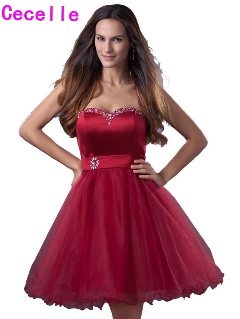 2019 Hot Dark Red Kurze Heimkehr Kleider Schatz Perlen Kristalle Tüll Knielangen Teens Informelle Homecoming Cocktail Kleider