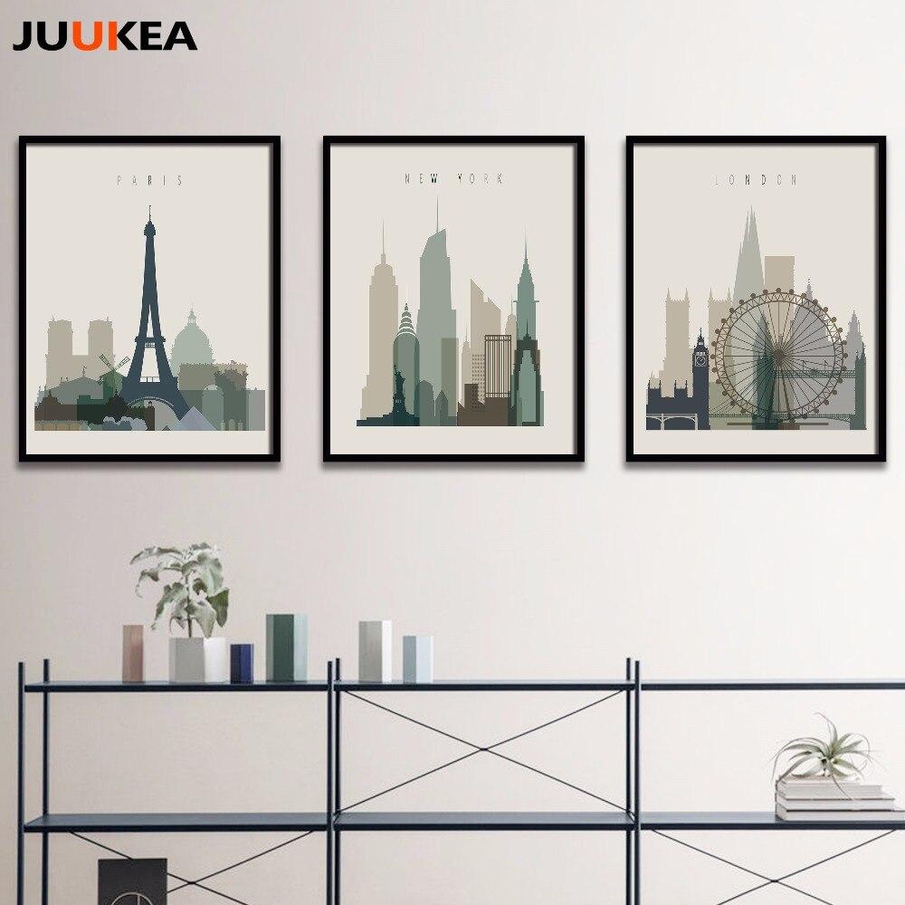 New York City Modern Canvas Painting Print Picture Home: 3Pcs Modern Canvas Print Painting Poster Famous London
