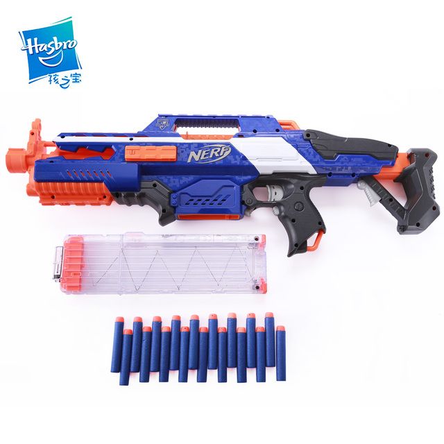 Hasbro NERF Heat soft bullet gun Elite Series CS-18 launcher (blue and  orange