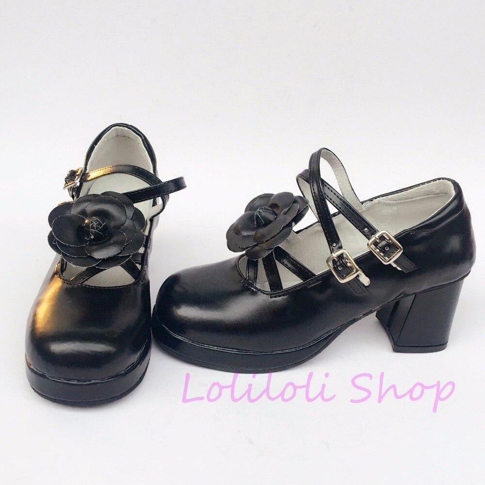 Princess sweet lolita shoes loliloli yoyo Japanese design custom big size black bright skin lace-up high boots 6114-6663