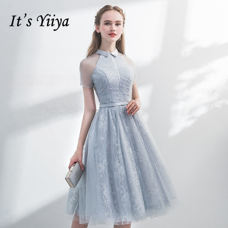 Weddings & Events Strict Hes Bride Blue New Elegant Cocktail Dress Scoop Full Sleeves A-line Appliques Knee-length Party Formal Dresses Robe De Soiree Street Price