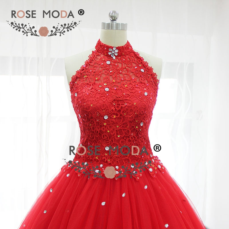 Rose moda red halter puffy prom dress bling kristall formale party dress lace up zurück real bilder - 5