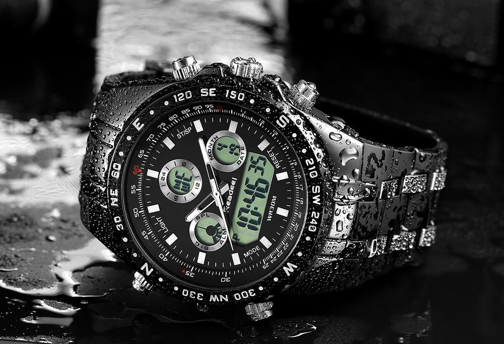 Readeel Top Brand Sport Quartz Wrist Watch Men Military Waterproof Watches LED Digital Watches Men Quartz Wristwatch Clock Male 11