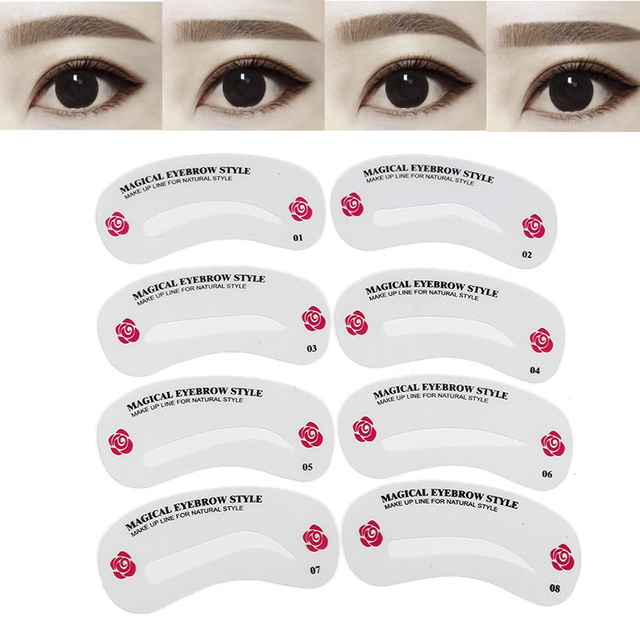 ELECOOL 24PCs Reusable Eyebrow Drawing Grooming Shaping Stencils Eyebrow Guide Template Card Kit For Beginners Cosmetic Tool 2