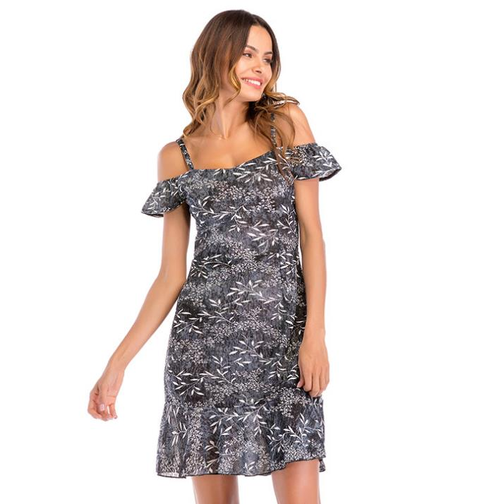 2019 Women Chiffon Dress Braces Lotus Leaf Pendant Dress off the shoulder sleeve Broken flower Dress in Dresses from Women 39 s Clothing