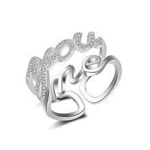 Carta de Amor Anel Aberto Feminino Duplo Lay Ajustável Anel de Dedo Indicador de Cristal Coreano Acessórios de Moda Presente para Senhoras Femme