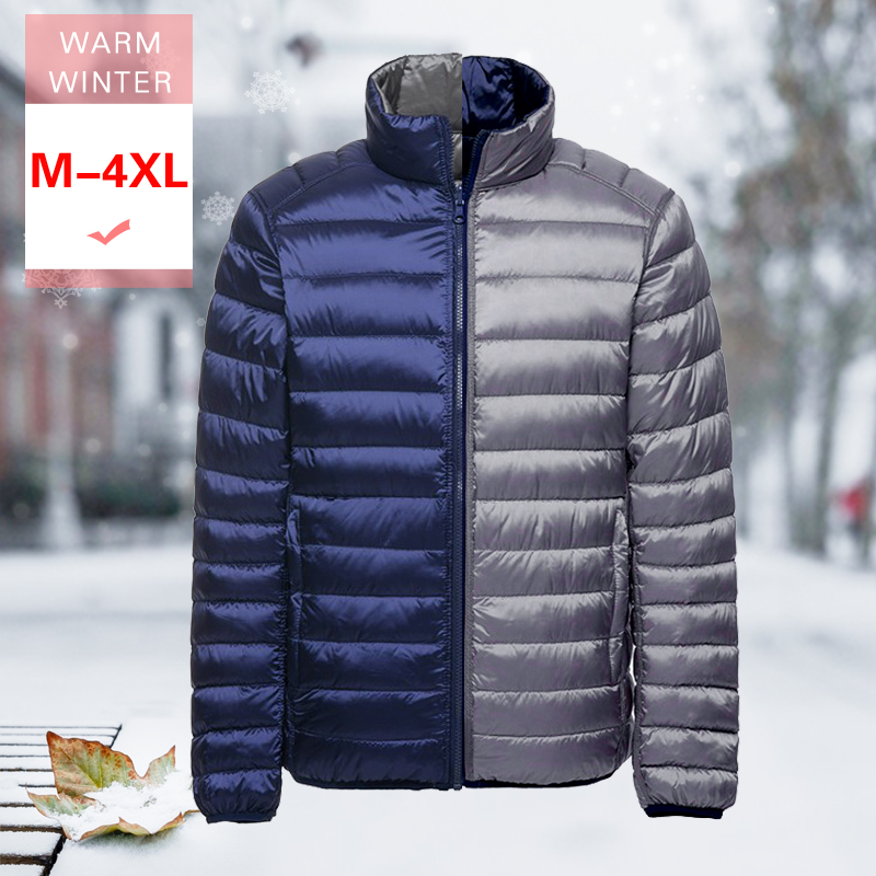 M-4XL Men White Duck Down Reversible Jacket New Winter Male Ultra Light Both Sides Coat Warm Thin Standing Collar Feather Coat