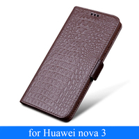 Luxury Wallet Case with Card Holder Cover for Huawei nova 3 Genuine Leather Flip Phone Case Shell Bag for Huawei nova3