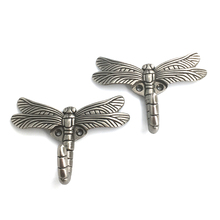 2pcs Dragonfly Shape Wall Hook Key Holder Wall-Mounted Hooks For Hanging Coat Hanger Metal Clothes