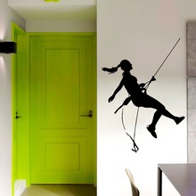 Free shipping Climbing Woman Pattern Art Wall Mural Girl Climb Hills Extreme Sport Special Designed Sticker For Home Decor