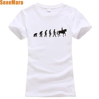 2014 New Women S T Shirt Solid Horse Riding Evolution T Shirt Women Original Free Shipping