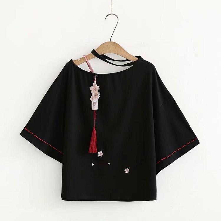 Women Black   T     Shirt   Cute Japanese Style Short Sleeve Sakura Embroidered Tee Tops