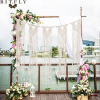BIT.FLY 90*120cm Handmade Cottton Tassel Wall Tapestry Romantic Wedding Photo Backdrop Wedding Background Decorations Supplies