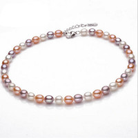 2017 Fashion Jewelry Natural Pearl Necklace 6 9mm Rice Pearl Jewelry Necklace For 925 Sterling Silver