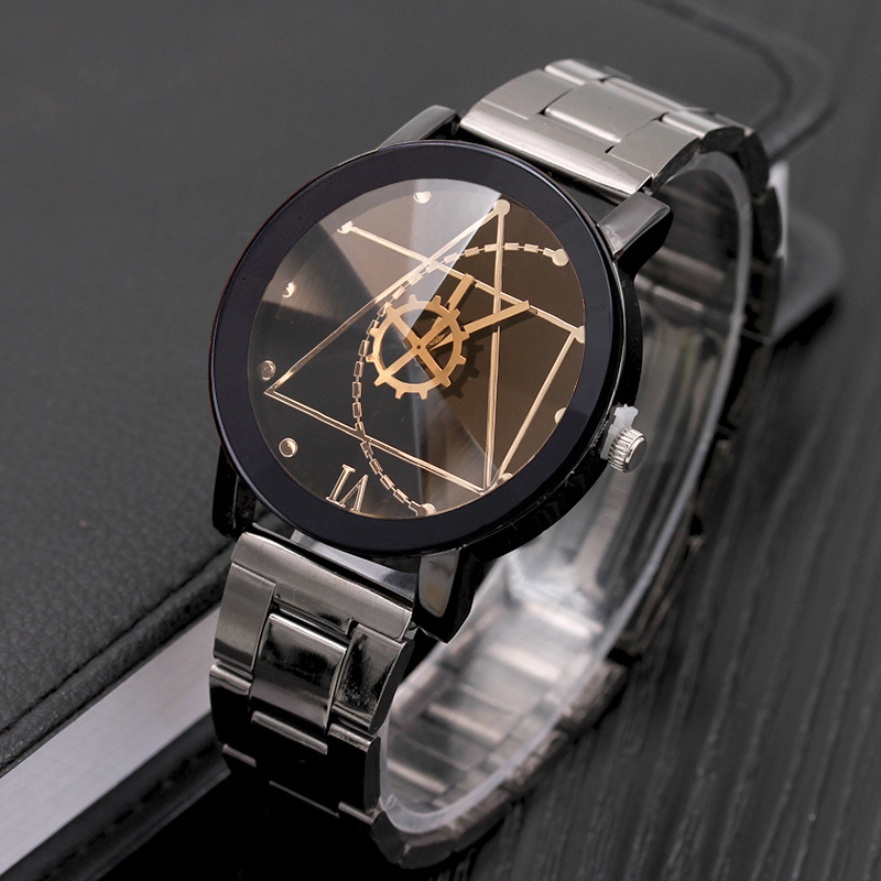 Wheel Shape Womens Mens Stylish Fashion watch Stainless Steel Big Dial Watch Quartz lover's Watch