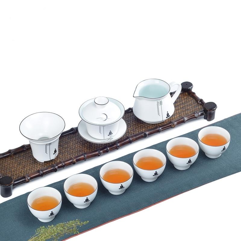 PINNY 9 unids/set blanco porcelana Kung Fu Tea Set cerámica Zen ...