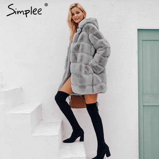 77d80e6868995 placeholder Simplee Vintage fluffy hoodie faux fur coat women Winter grey  jacket coat female Plus size warm