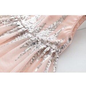 Image 5 - Amour DD & MM filles robes 2019 été nouveaux vêtements pour enfants filles mode paillettes couture maille sans manches robe de princesse