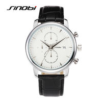 SINOBI Rose Gold Men Business Casual Watch For Brand Males Fashion Leather Wristwatch Geneva Quartz Watch