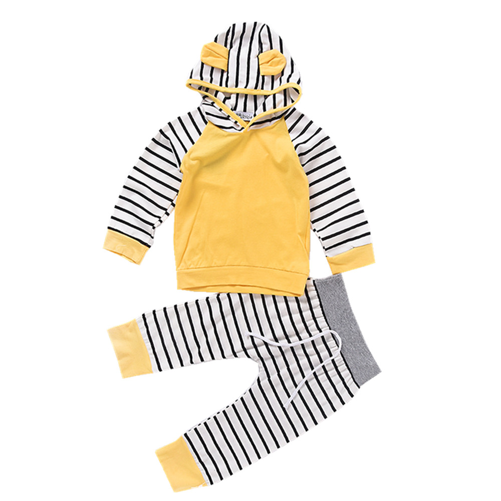Newborn Baby Boys Yellow Stripes Hoodie T-shirt Top + Pants Outfits Set Autumn Winter Long Sleeve Kids Clothes Suit Child Cotton