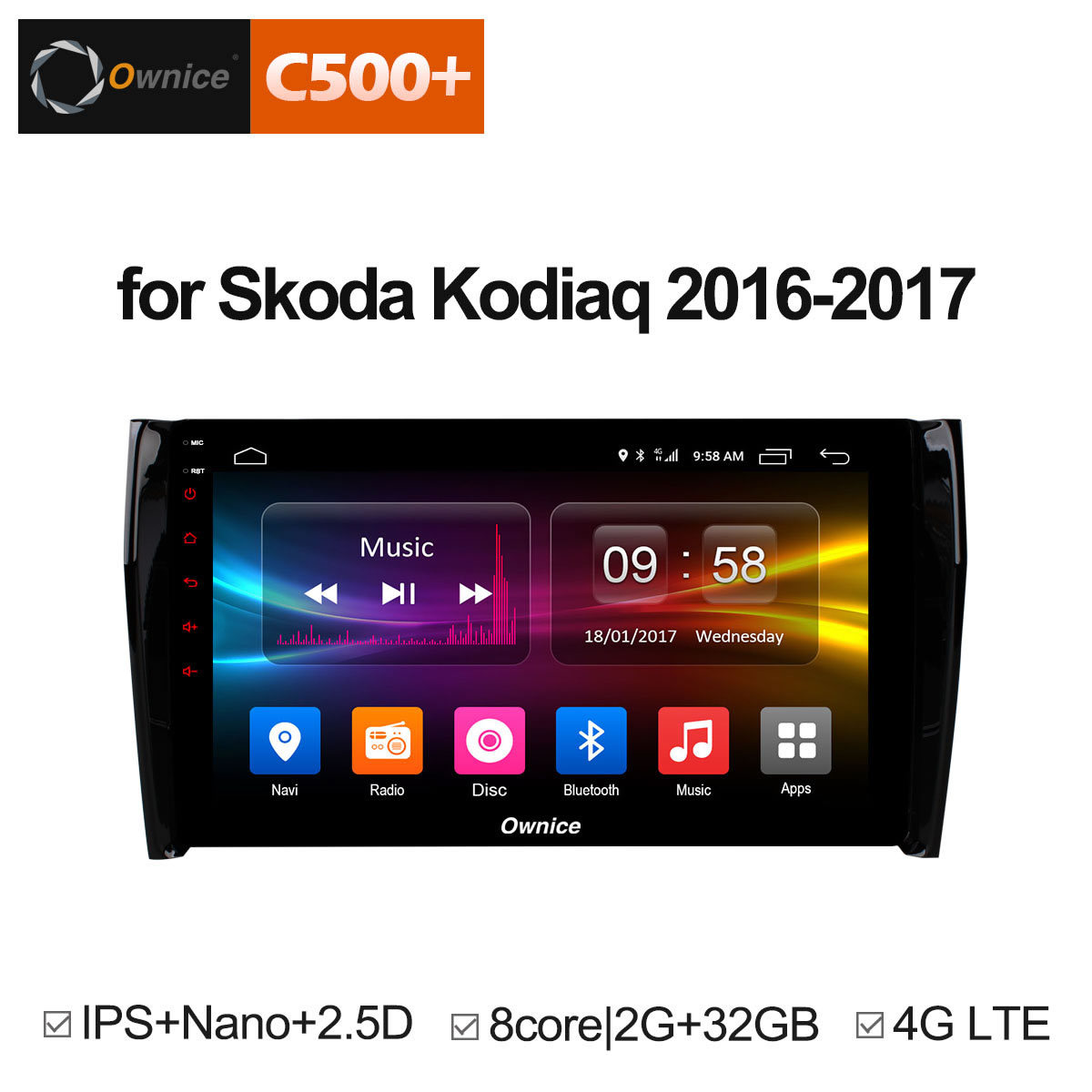 Ownice c500 + G10 10.1 Android 8.1 Octa Core 2 gb RAM voiture dvd gps Pour Skoda Kodiaq 2016 2017 Soutien 4g SIM RDS DAB + Carplay