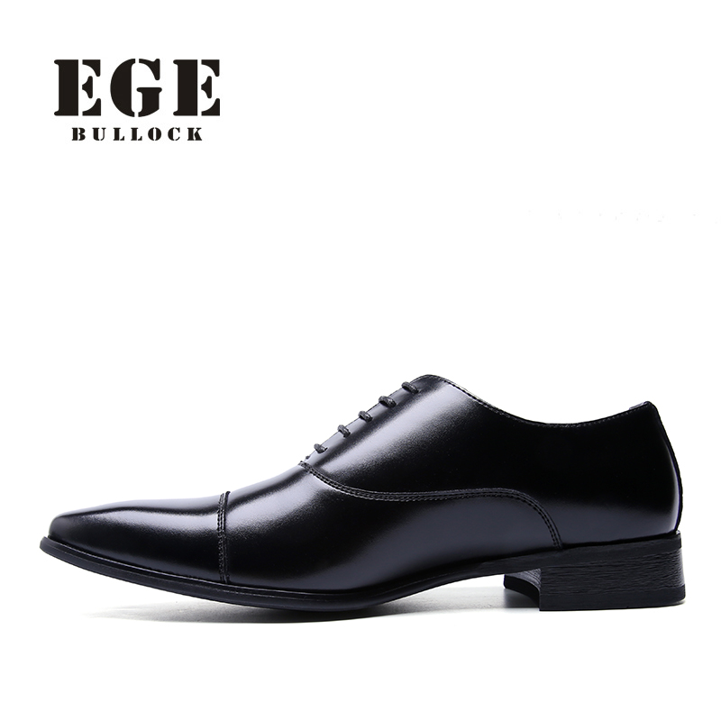 EGE Brand Men Dress Shoes Handmade Genuine Leather Fashion Derby Wedding Shoes New top Quality Business Boss Shoes for Men