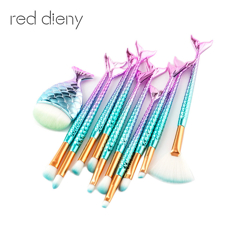 7-11PCS Make Up Foundation Eyebrow Eyeliner Blush Cosmetic Concealer Brushes Mermaid Fish Tail Makeup Brushes pinceis sereia 2017 new mermaid makeup brushes foundation eyebrow eyeliner blush cosmetic concealer fish tail make up brushes brush tools lz06