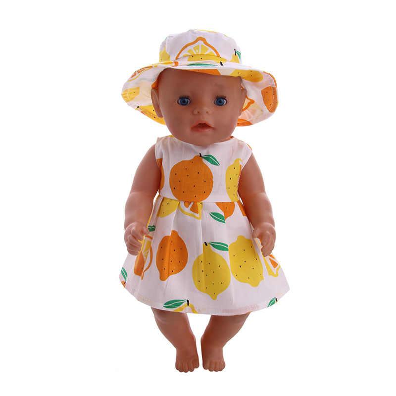 Vestido con patrón de limón de LUCKDOLL de 18 pulgadas americano 43cm accesorios de ropa de muñeca de bebé, juguetes de niñas, generación, regalo de Cumpleaños